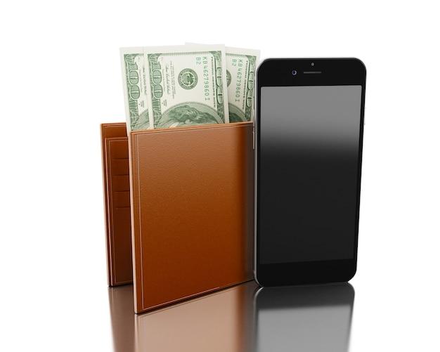 Illustration 3d dollars en bourse avec smartphone
