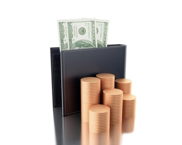 Illustration 3d dollars en portefeuille avec des piles de pièces