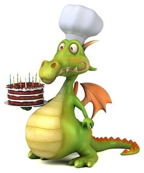 Illustration 3d de dragon drôle