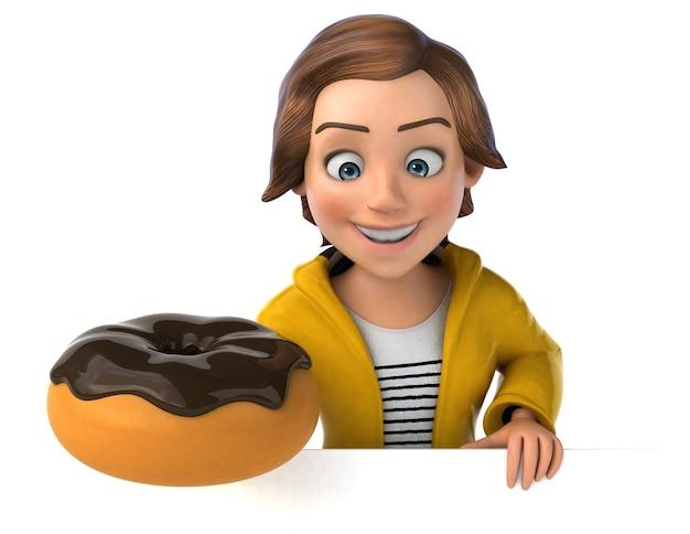 Illustration 3d drôle d'une adolescente de dessin animé avec beignet