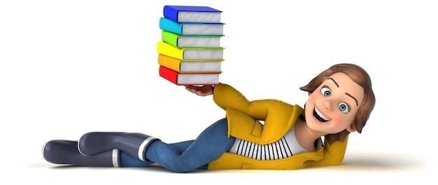 Illustration 3d drôle d'une adolescente de dessin animé avec des livres colorés