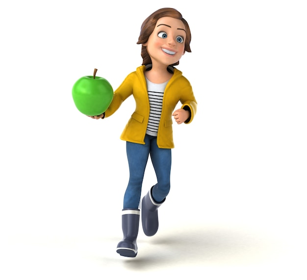 Illustration 3d drôle d'une adolescente de dessin animé