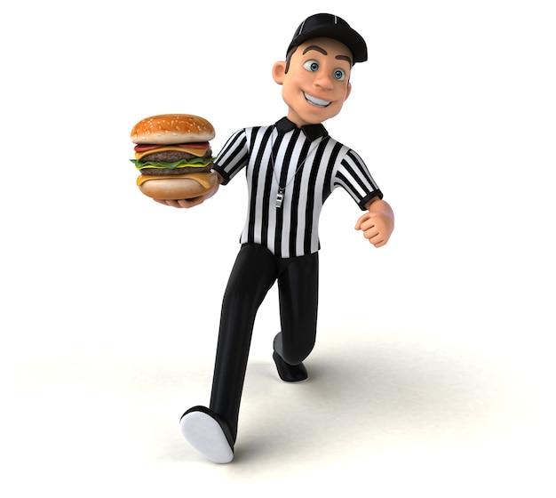 Illustration 3d drôle d'un arbitre américain