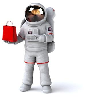 Illustration 3d drôle d'astronaute