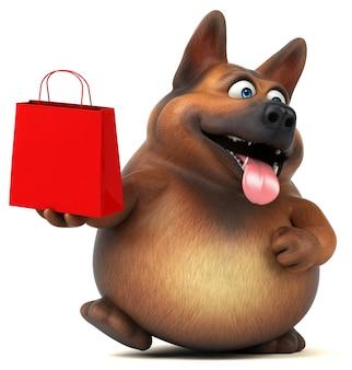 Illustration 3d drôle de chien de berger allemand