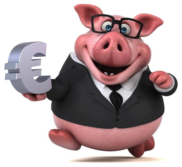 Illustration 3d drôle de cochon