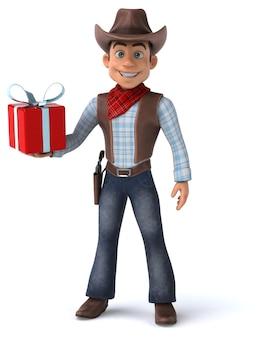 Illustration 3d drôle de cowboy
