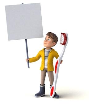 Illustration 3d drôle d'un enfant de dessin animé avec des vêtements de pluie