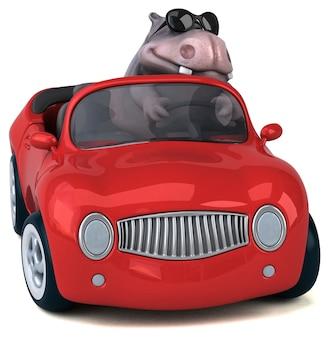 Illustration 3d drôle d'hippopotame