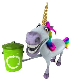 Illustration 3d drôle de licorne