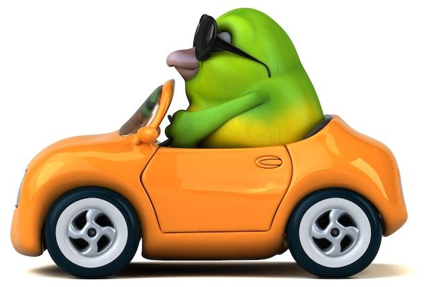 Illustration 3d drôle d'oiseau vert