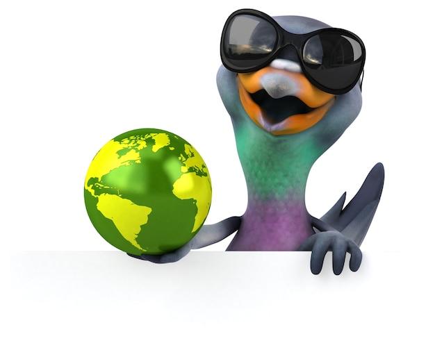 Illustration 3d drôle de pigeon