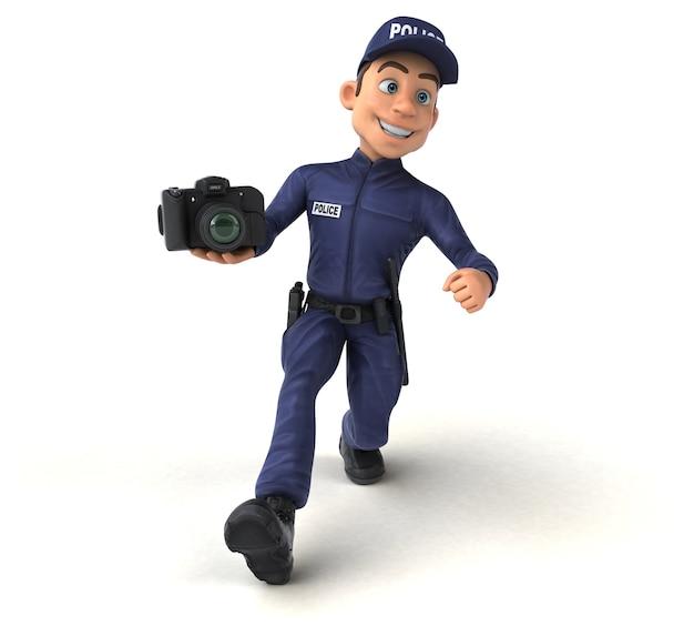 Illustration 3d drôle d'un policier de dessin animé