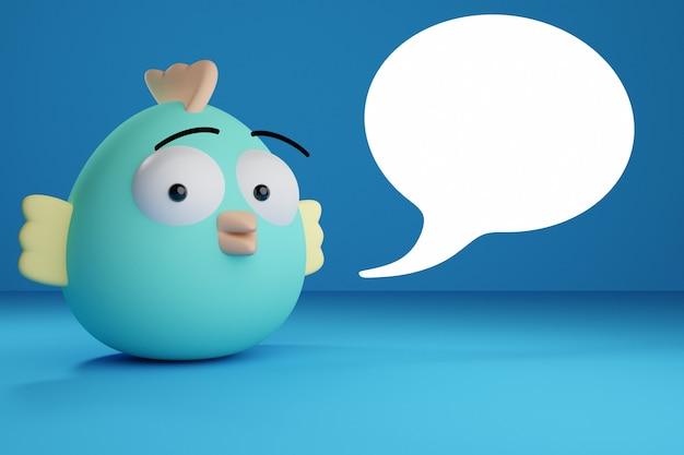 Illustration 3d drôle de poulet de forme ovale bleu avec des ailes courtes et des yeux surpris regarde la caméra et les messages sous la forme d'un nuage sur un fond bleu. illustration du dialogue, chat.