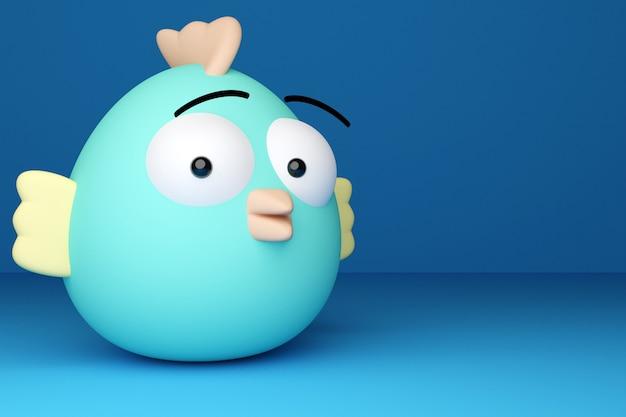 Illustration 3d drôle de poulet de forme ovale bleu avec des ailes courtes et des yeux surpris