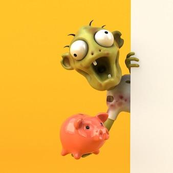 Illustration 3d drôle de zombie