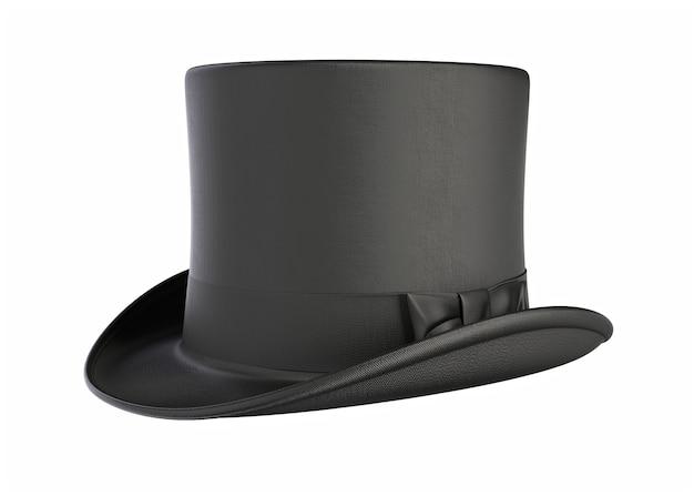 Illustration 3d du chapeau magique de cylindre noir vintage isolé sur fond blanc
