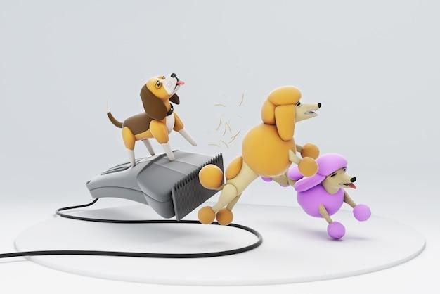 Illustration 3d du chien de coupe de cheveux