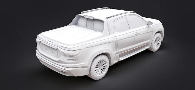 Illustration 3d du concept camionnette de fret sur fond isolé gris. rendu 3d.