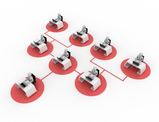 Illustration 3d du concept de communication d'entreprise. illustration rendue