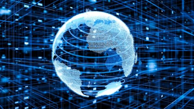 Illustration 3d du concept de réseau internet en ligne mondial