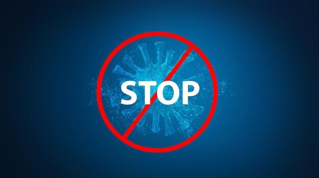 Illustration 3d du coronavirus et texte d'arrêt 3d