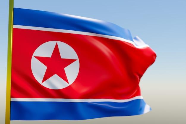 Illustration 3d du drapeau national de la corée du nord