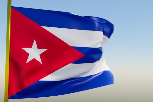 Illustration 3d du drapeau national de cuba
