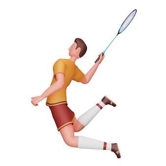 Illustration 3d du joueur de badminton masculin dans la pose de jeu.
