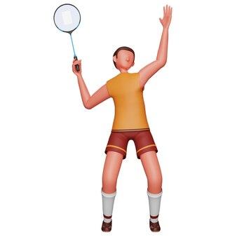 Illustration 3d du joueur de badminton masculin sur fond blanc.