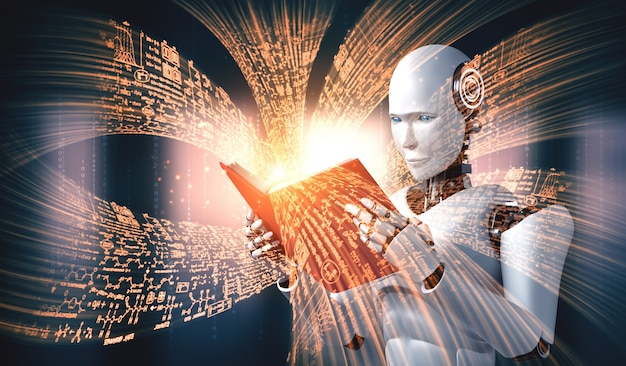 Illustration 3d du livre de lecture humanoïde de robot et résolution de mathématiques