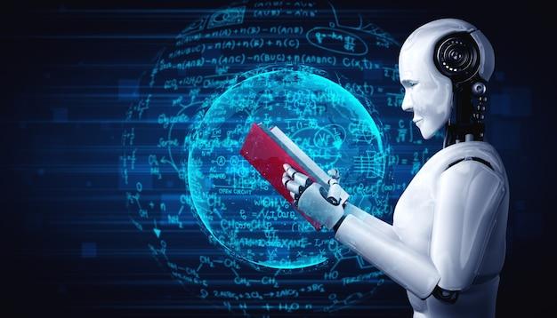 Illustration 3d du livre de lecture humanoïde de robot et résolution de maths