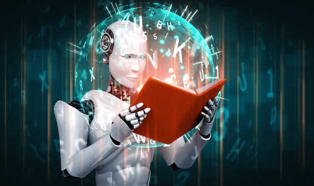 Illustration 3d du livre de lecture humanoïde de robot