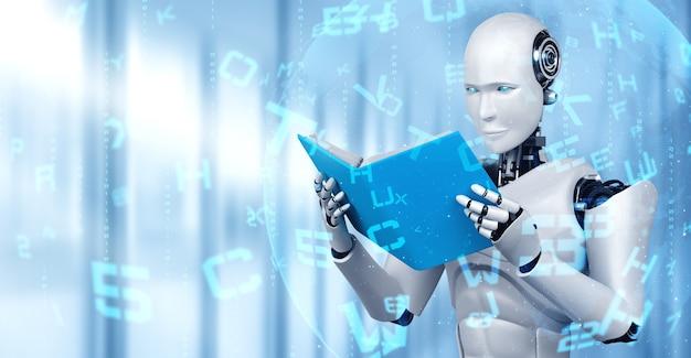 Illustration 3d du livre de lecture humanoïde robot