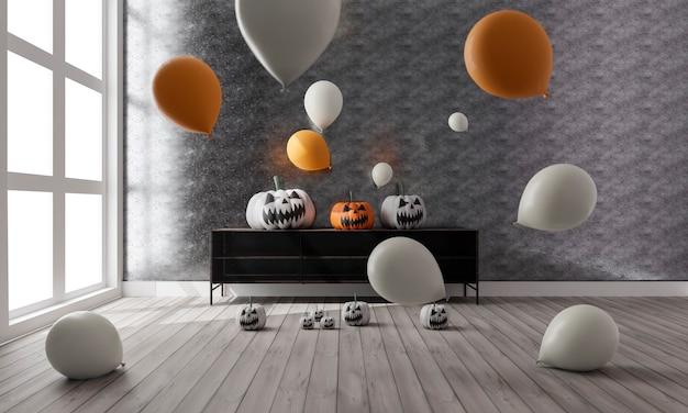 Illustration 3d du salon avec décoration d'halloween et ballons
