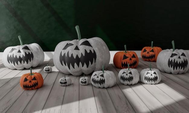 Illustration 3d du salon avec décoration halloween