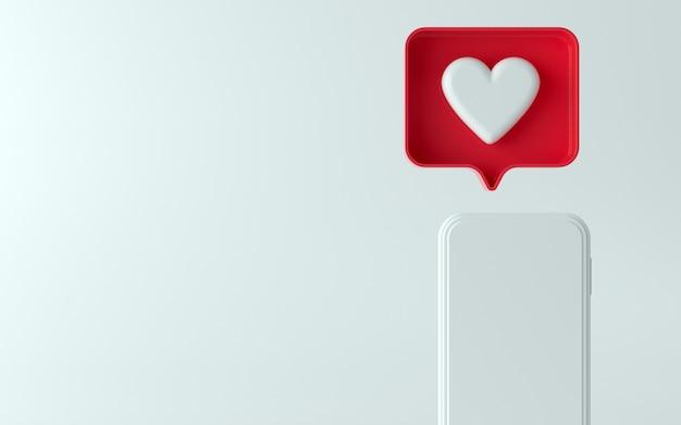 Illustration 3d du téléphone avec une icône de notification similaire en haut et sur le côté