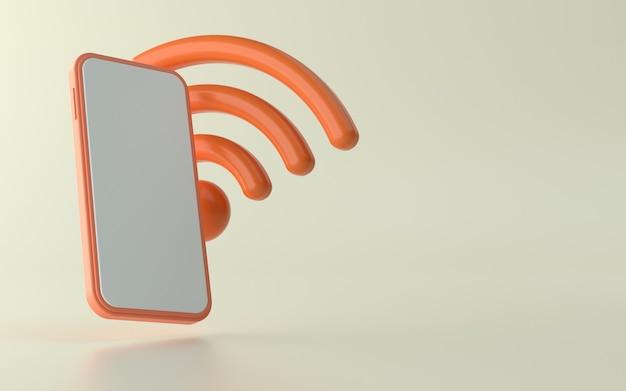 Illustration 3d du téléphone avec l'icône de signal