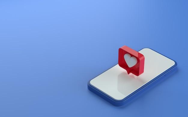 Illustration 3d du téléphone à vue isométrique avec une icône de notification similaire en haut et sur le côté