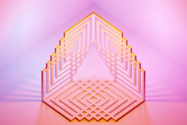 Illustration 3d du triangle monochrome jaune