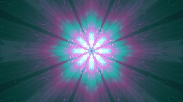 Illustration 3d du tunnel symétrique futuriste 4k uhd illuminé de néons abstraits roses et verts