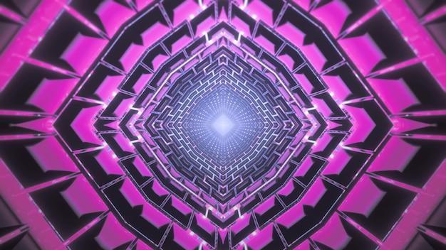 Illustration 3d dynamique abstrait illusion d'optique visuelle fond de tunnel virtuel futuriste avec néon rose géométrique