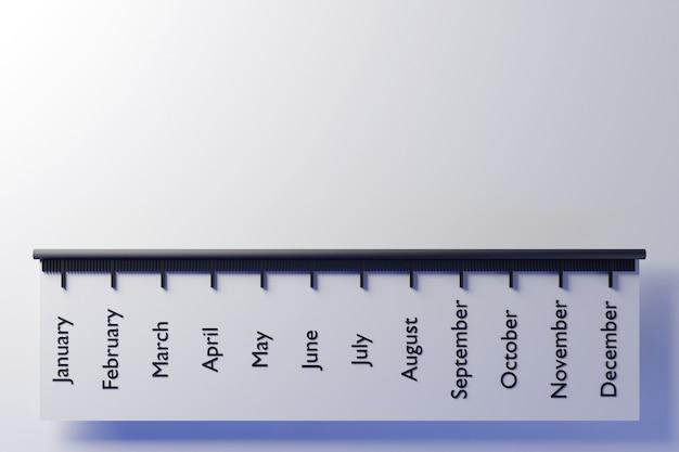 Illustration 3d d'une échelle horizontale avec les noms des mois de l'année.
