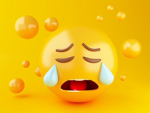 Illustration 3d emoji icônes avec des expressions faciales. concept de médias sociaux.