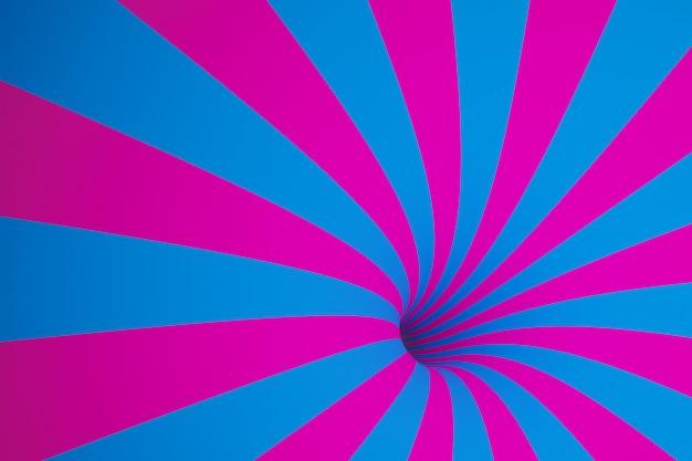 Illustration 3d entonnoir rose-bleu. abstrait coloré rayé.