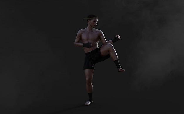 Illustration 3d entraînement sportif dans les arts martiaux, humain, avec tracé de détourage, kick-boxing, muscle man in dark.