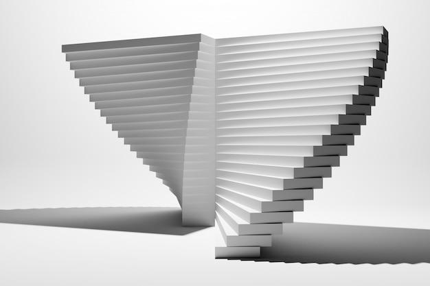 Illustration 3d un escalier ascendant blanc monte dans une pièce blanche vide.