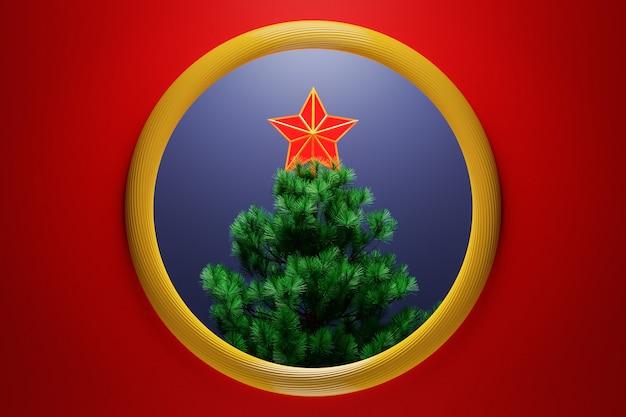 Illustration 3d une étoile décorative de noël au sommet d'un arbre de noël