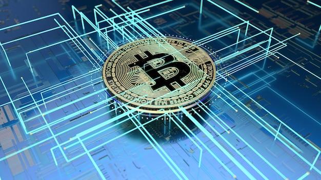 Illustration 3d d'un fond abstrait de l'art bitcoin