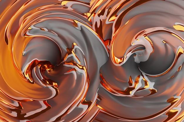 Illustration 3d d'un fond abstrait marron et or avec des cercles scintillants et brillant. illustration magnifique. abstrait avec effet twirl en violet